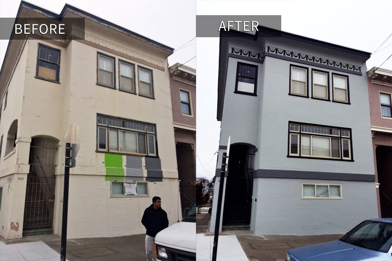 gray apartment building painting project san francisco before and after photo