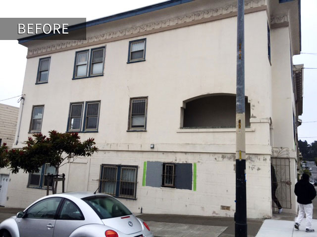 gray apartment building painting project san francisco before photo