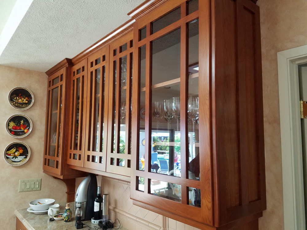 Kitchen Cabinet Refinishing Project With A Red Cherry Mahogany